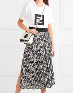 "FENDI ""Kan I"" Small Leather Handbag in Black & White"