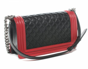 lenvie-de-luxe - CHANEL Lambskin Quilted Medium Boy Flap Red & Black - Chanel - Handbags
