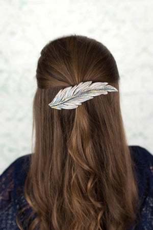 Silvery Feather Hair Clip