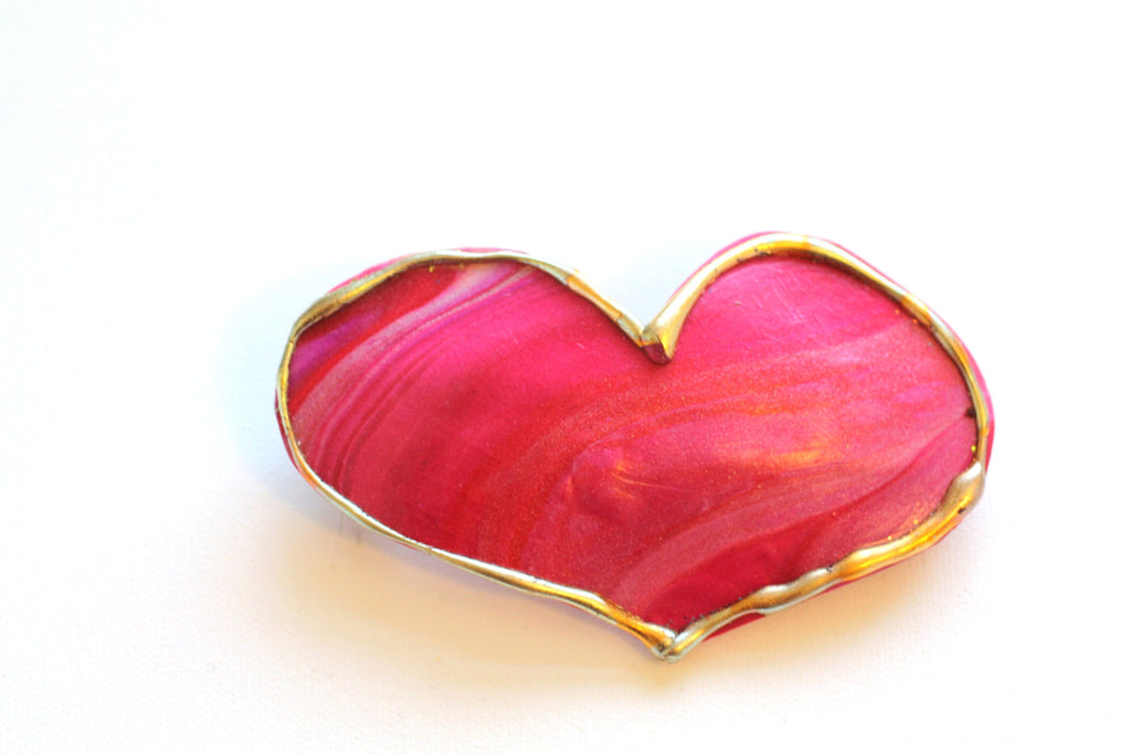 Ruby Red Pink Heart Barrette