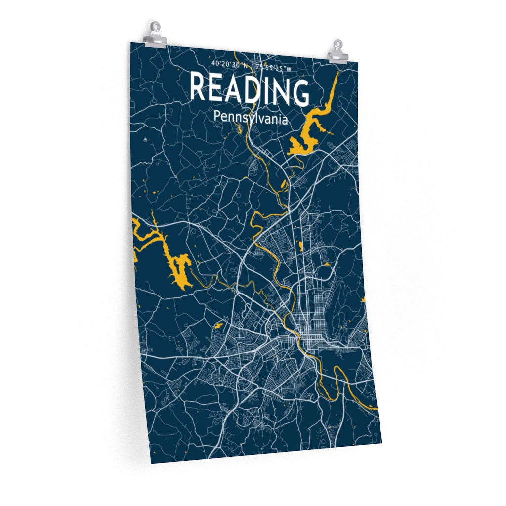 Reading, PA Map Poster - Blue / Yellow
