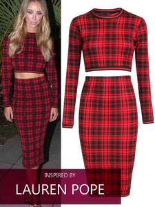 'Lauren' Red Tartan Two Piece