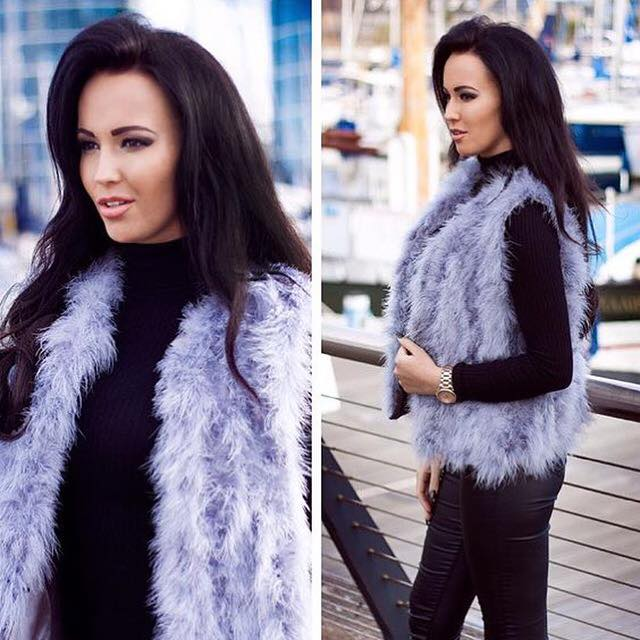 'Holly' Grey Ostrich Feather Gilet