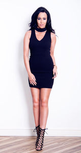 'Charley' Black Choker Bodycon Dress