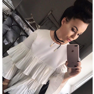 'Jessie' White Frill Top