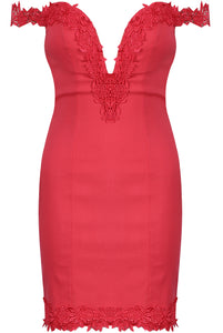 'Hettie' Red Sweetheart Neck Dress