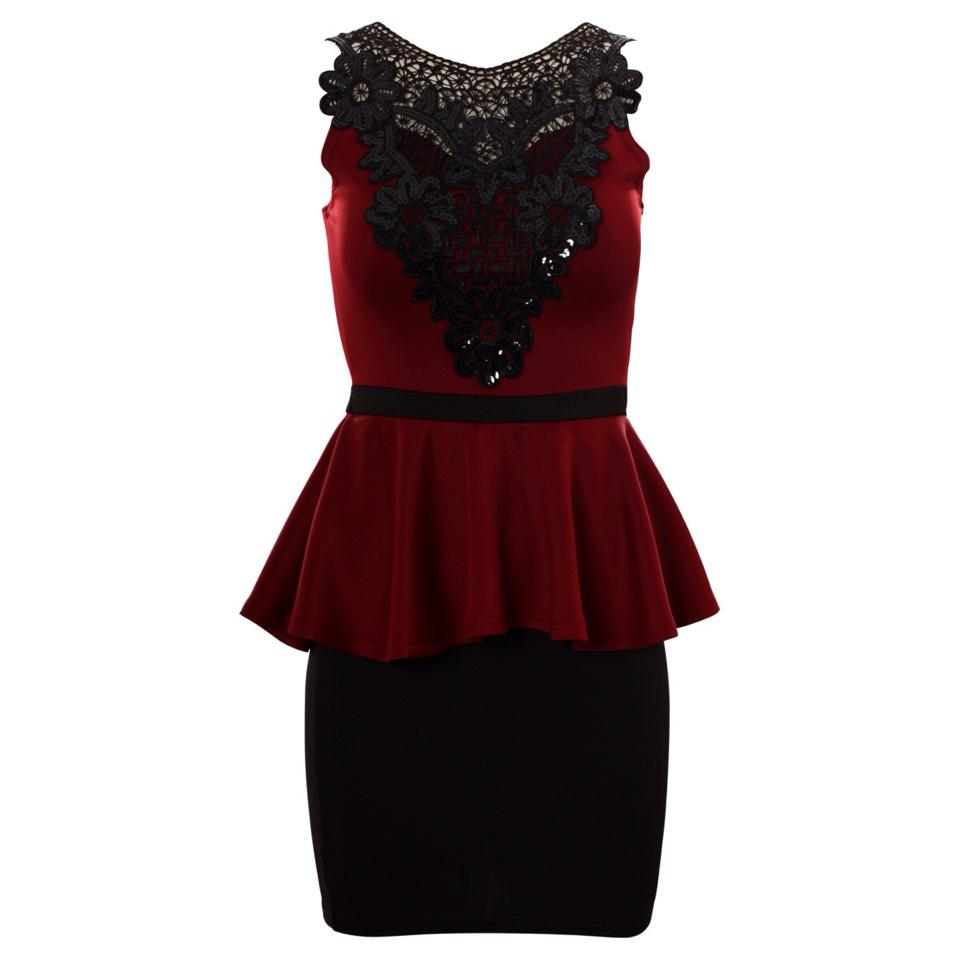 'Bethany' Wine Sequin Embellished Peplum Dress