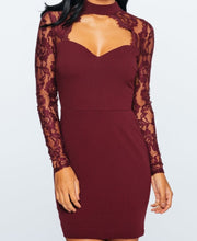 Load image into Gallery viewer, 'Misha' Wine Lace Choker Dress