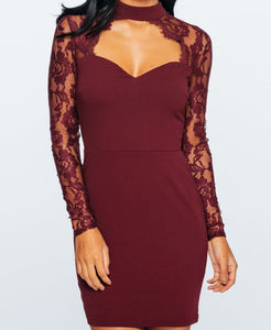 'Misha' Wine Lace Choker Dress