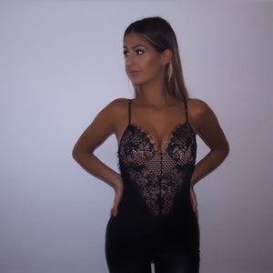 'Hallie' Pink & Black Lace Bodysuit