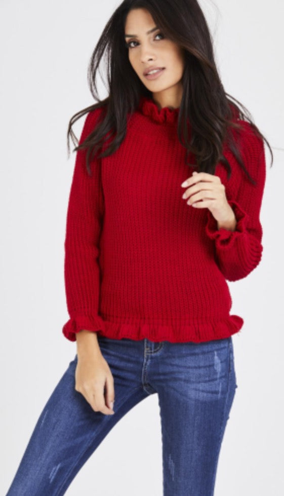 'Bianca' Red Bardot Jumper