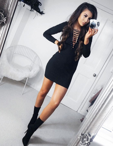 'Tessa' Black Lace Up Dress