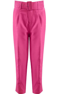 'Margot' Fuchsia Belted Trousers