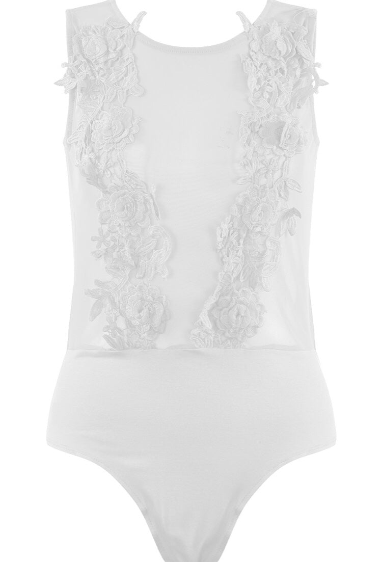 'Dolly' White Lace Sheer Bodysuit