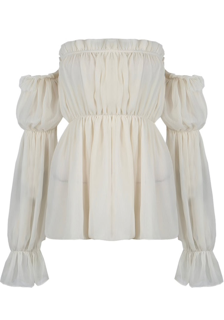 'Aaliyah' Cold Shoulder Sheer Blouse