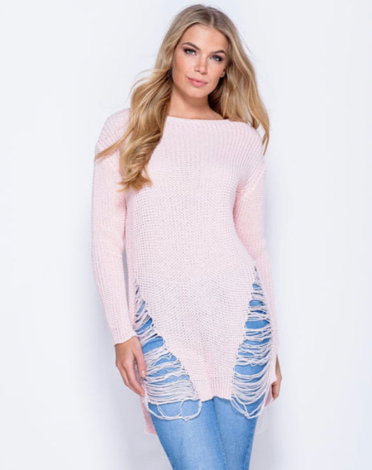 'Rosie' Pink Frayed Jumper