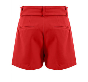 'Julia' Red Belted Shorts