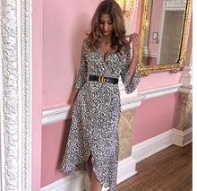 Load image into Gallery viewer, 'Gracie' Leopard Wrap Dress