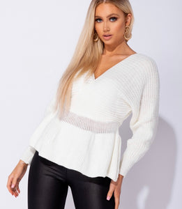 'Taylor' Cream Frill Jumper