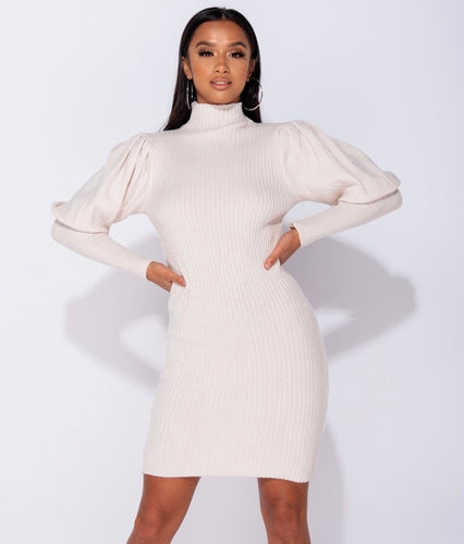 'Tiana' Puff Sleeve Jumper Dress