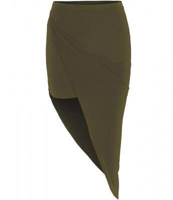 'Emma' Khaki Ruched Side Skirt