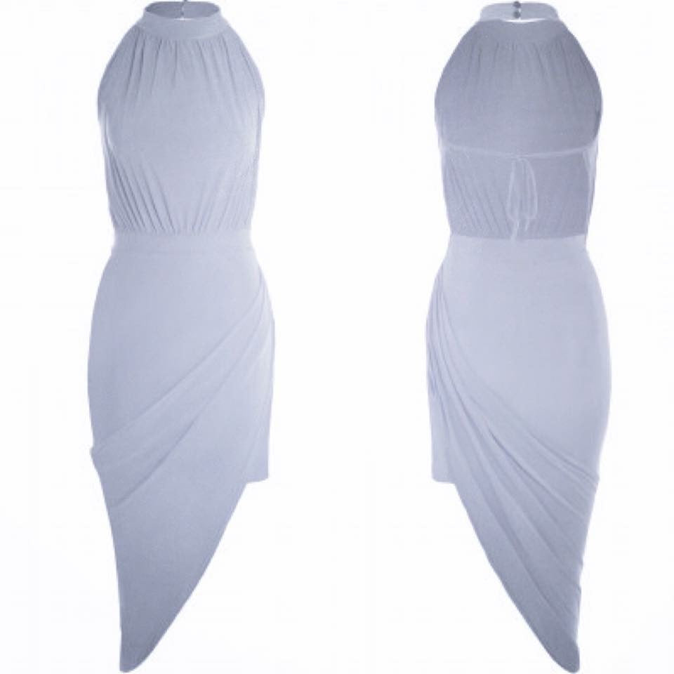 'Becca' Grey Rouched Tie Back Dress
