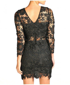 'Lacey' Black Lace Insert Dress