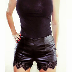 'Sadie' Leather Lace Trim Shorts