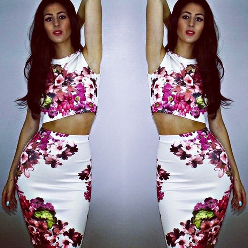 'Billie' White Floral Two Piece