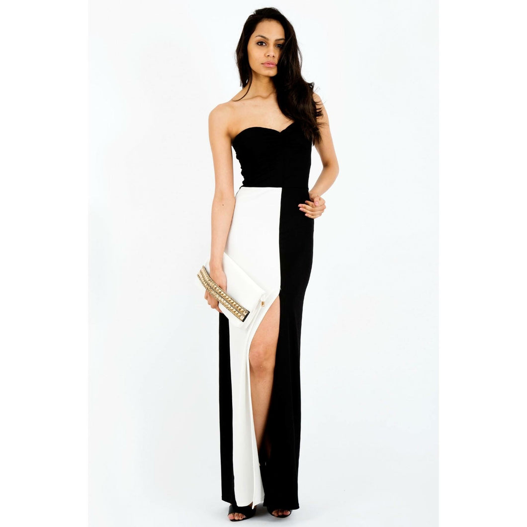 'Adele' Monochrome Split Maxi Dress