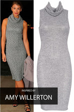 Load image into Gallery viewer, 'Allie' Grey Roll Neck Midi Dress