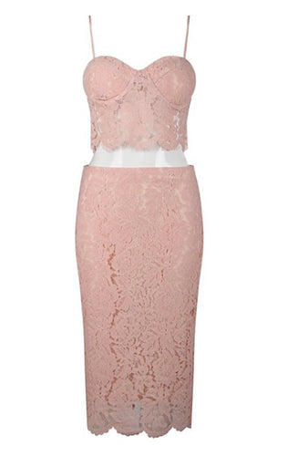 'Danielle' Baby Pink Lace Two Piece
