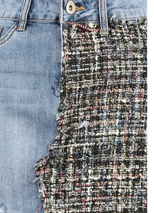 'Tiana' Denim/Tweed Skirt