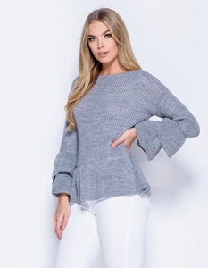 'Molly' Grey Frilled Jumper