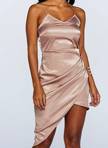 'Lottie' Satin Asymmetric Dress
