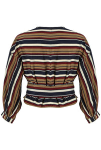 'Emmy' Striped Cross Over Top