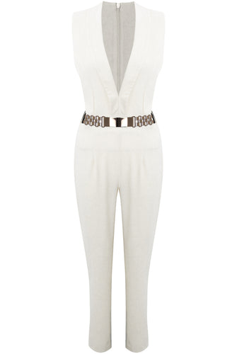 'Marissa' Cream Plunge Jumpsuit With Belt
