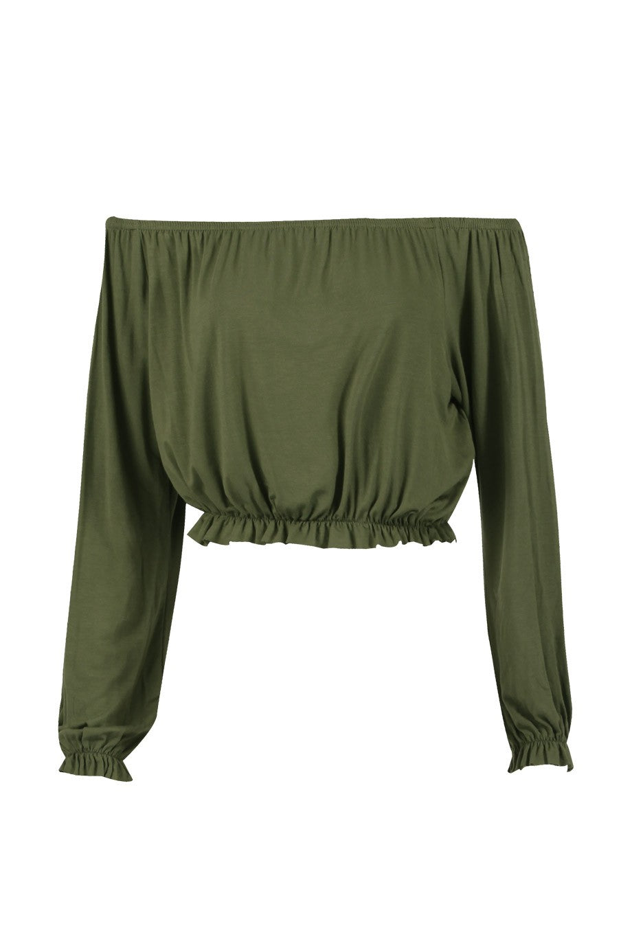 'Darcy' Khaki Off The Shoulder Top