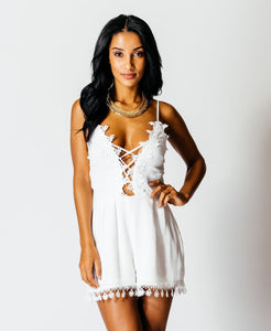 'Lucia' Crotchet Tie Front Playsuit