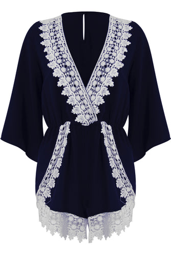 'Fearne' Lace Short Sleeve Playsuit