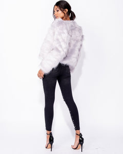 'Sofia' Light Grey Faux Fur Coat