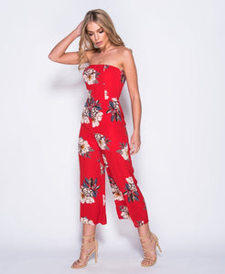'Kady' Red Flared Jumpsuit
