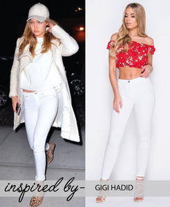 'Lolly' High Waist White Jean Jeggings