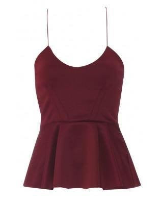 'Lauren' Burgundy Spaghetti Strap Top