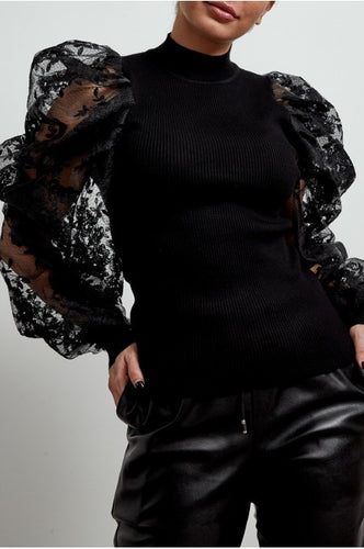 'Loren' Lace Puff Sleeve Jumper (Black)