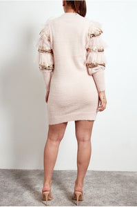 'Mia' Sequin Detail Arm Jumper Dress