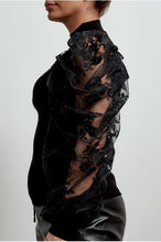Load image into Gallery viewer, 'Loren' Lace Puff Sleeve Jumper (Black)