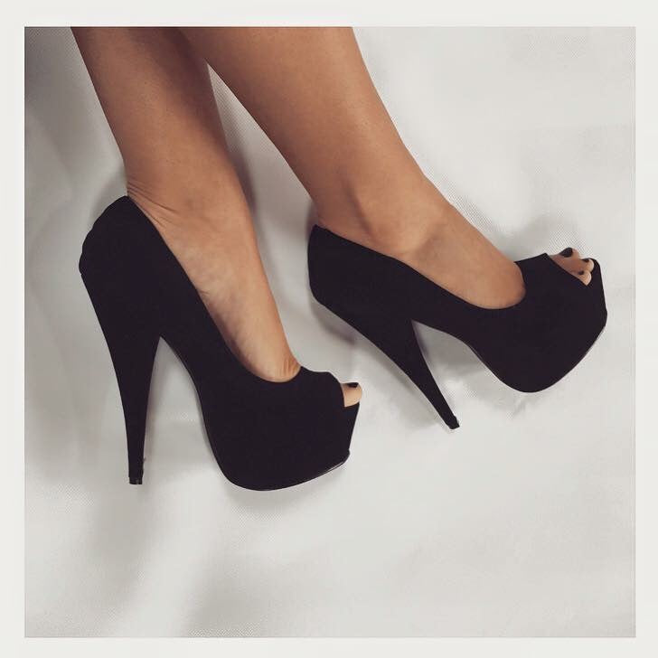 'Kelly' Suede Peep Toe Stilettos