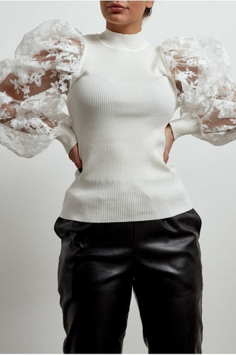 'Loren' Lace Puff Sleeve Jumper (White)