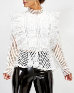 'Harper' White Frill Detail Blouse